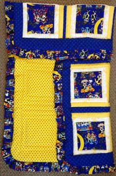 baby quilt flannel blanket ruffled quilt blue & by ohSEWcuddly