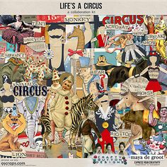 Life's A Circus Kit, a collaboration with Maya De Groot. (Also sold individually as an element and paper pack).