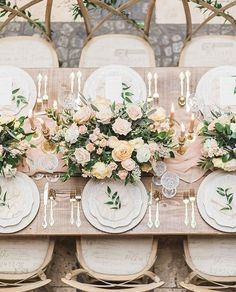 Love the gorgeous feminine, vintage and French-inspired details on this beautiful wedding tablescape. [Photo: Gracefield Events] Wedding Table Centerpieces, Wedding Table Settings, Wedding Reception Decorations, Centerpiece Ideas, Floral Wedding, Wedding Colors, Wedding Flowers, Gold Wedding, Rustic Wedding