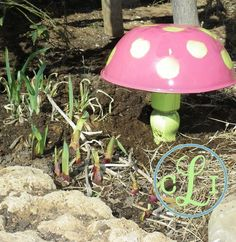 an old metal bowl gets a new life in the garden, gardening, repurposing upcycling, I found an old chair table leg and painted it up and screwed down through the bottom of the bowl into the leg