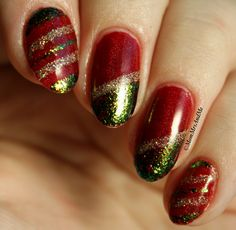 Mom, Mrs., and Me: Challenge Your Nail Art: Red & Green Colors