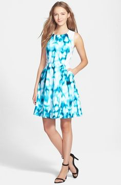 T Tahari 'Tyra' Print Stretch Cotton Fit & Flare Dress available at #Nordstrom