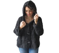 Hooded Cardigan - Alpaca wool. - Hand knitted hooded jacket, cardigan. - Chunky, soft and warm. - L and XL sizes.