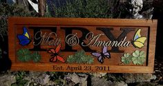 BUTTERFLIES AND CLOVER...Anniversary gift / by CarvedArtStudio511, $110.00