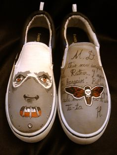 The Silence Of The Lambs- hand painted sneakers. Painted Canvas Shoes, Custom Painted Shoes, Painted Sneakers, Hand Painted Shoes, Painted Vans, Painted Clothes, Custom Vans Shoes, Vanz, Creative Shoes