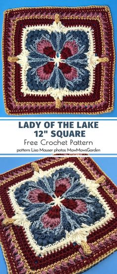 Meet the magical Lady of the Lake! She is mysterious, she is elegant and so sophisticated. Her nature is reflected in these deep, sense-soothing shades of burgundy, dark blue and warm creamy beige. A match made in heaven, perfect for winter. Crochet Squares Afghan, Crochet Blocks, Granny Square Crochet Pattern, Crochet Granny, Crochet Motif, Crochet Stitches, Crochet Baby, Free Crochet, Knit Crochet