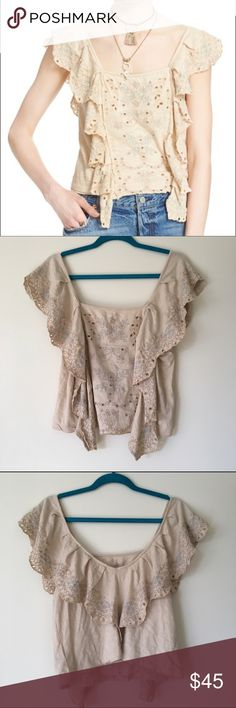 """Free People 'Shake Baby Shake' Top intricate embroidered ruffles and flutter sleeves, and eyelet designs. 100% cotton, machine washable. square neckline with a v-back. 20"""" length, perfect with a pair of mid-high rise  jeans! copper tag unattached on one side Free People Tops Blouses"""