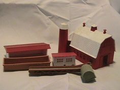 Farm house animal shelter food troft mill belt xmas village layout accessories