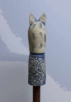 Keramik - Gartenwächterkatze BOLLE - ein Designerstück von Brigitte_Peglow bei DaWanda