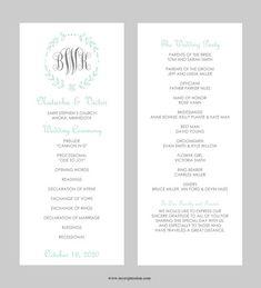 Wedding Program Template – Tea Length - Leaf Monogram (Mint) - Instant Download - Editable MS Word File on Etsy, $8.95