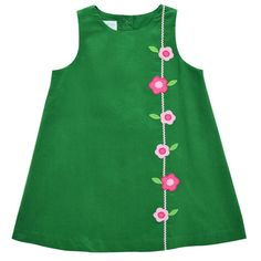Flower Applique Green Corduroy Jumper from Betti Terrell by Frances Johnston Style: Flower Applique, Corduroy, Jumper, Special Occasion, Seasons, Summer Dresses, Tank Tops, Sewing, Kids