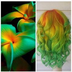 Beautiful flower inspiration and interpretive hair art by Serena Miller color me… - All For Hair Color Trending Bright Hair Colors, Fall Hair Colors, Cool Hair Color, Colorful Hair, Neon Hair, Yellow Hair, White Hair, Orange Yellow, Coloured Hair