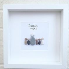 Pebble art picture teachers thank you teacher gift home decor handmade christmas Teacher Thank You Cards, Thank You Gifts, Stone Crafts, Rock Crafts, Kid Crafts, Handmade Teacher Gifts, Nursery Teacher, Presents For Teachers, Teachers Pet