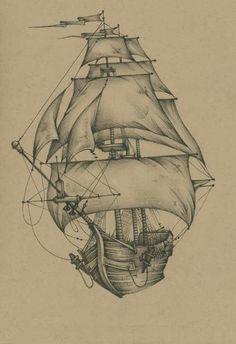 Pirate Ship Drawing, Boat Drawing, Tattoo Photo, Picture Tattoos, Cool Drawings, Tattoo Drawings, Pyrography Patterns, Pirate Art, Oldschool