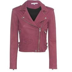 IRO Ashville Magniolia // Lamb leather biker jacket (3.080 BRL) ❤ liked on Polyvore featuring outerwear, jackets, purple motorcycle jacket, cropped jacket, lamb leather jacket, purple jacket and zip jacket