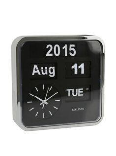 Modern Black/Silver Flipping Calendar Clock / by Karlsson Wall Watch, Gadgets And Gizmos, Flip Clock, My Dream Home, Home Furnishings, Black Silver, Home Goods, Sweet Home, At Least