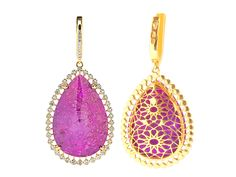 Gold earrings with alunites and sapphires // pendientes de oro con alunitas y zafiros www.art-jeweller.com