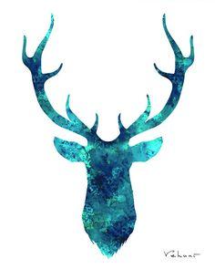 Deer Head Turquoise Archival Print from by FluidDiamondArt, $12.00
