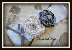 Lace Bridal Garter, Vintage garter, toss garter, Bridal gift, Bridal accessories, Silk rosette garter, Ivory Gray Garter, Garter Belt