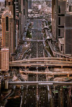 Sheikh Zayed Road running through the heart of Dubai, UAE // by Sebastian M