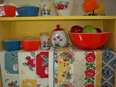 Vintage Kitchen Red Tea Towel Cherries, assorted fruits, look cute with the dishes displayed on top