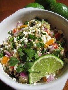 southwestern quinoa salad  -  you must try this - it is a staple in our house (even the teens love it). we make it veggie by not adding chicken.  it will disappear, promise!      recipe: http://applesandonions.com/tag/quinoa/