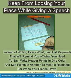 Public Speaking - Easy to Read Public Speaking Notes