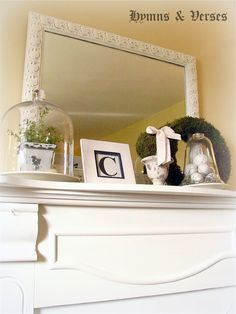 """Painted fireplace mantel and mirror.  Annie Sloan Chalk Paint """"Old White"""""""