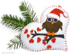 Owl on a Heart / Christmas Ornament / by ImaginaryHandicraft, $16.00