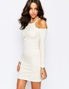 Boohoo Cut Out Shoulder Body-Conscious Dress