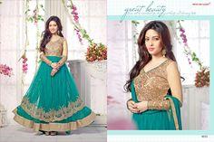 9055_riya Sen Aqua Green Designer Partywear Salwar Suiit-Clothing-Factory Outlet
