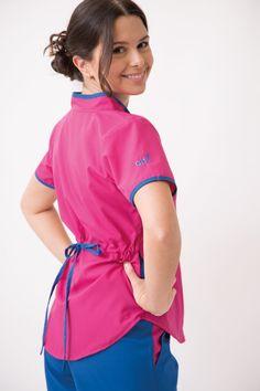 Jazmín Poly BIS fucsia con azul francia Medical Scrubs, Jack Black, School Uniform, Dress Patterns, Rain Jacket, Windbreaker, Coat, Samara, Caregiver