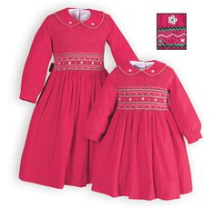 Traditional girls hand-smocked dress of soft cotton, featherwale corduroy in an exceptional shade of dark pink. White and green embroidered accents.