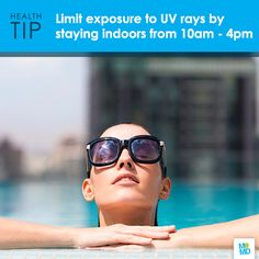 #TipTuesday: Limit summer sun exposure. UV rays are most intense between 10 a.m. and 4 p.m. If you are uncertain about the sun's intensity, take the shadow test: If your shadow is shorter than you, then the sun's rays are at their strongest for the day.