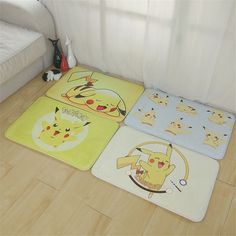 Fashion Cartoon Pokemon Pikachu Printing Anti-Slip Floor Mat Water Absorption Carpet for Kitchen Room Bedroom Non-slip Doormat