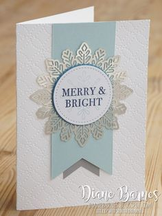 Handmade Christmas card with silver foil snowflake doily and Stampin Up Hearts Come Home & Snowflake Sentiments stamps, stitched shapes & layering circle dies. Card by Di Barnes colourmehappy 2017 Holiday Catalogue