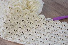 Punto con ventaglietti per copertine - Cita Aga Baby Afghan Crochet, Newborn Crochet, Crochet Blanket Patterns, Baby Knitting Patterns, Crochet Star Stitch, Crochet Stitches, Hexagon Crochet Pattern, Diy Crafts Crochet, Popular Crochet