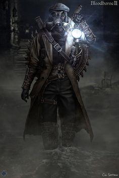 Bloodborne II - Smog Hunter Grzegorz by CalSantiago on DeviantArt Steampunk, Anime Meme, Dark Fantasy, Fantasy Art, Bloodborne Art, Bloodborne Outfits, Bloodborne Cosplay, Character Art, Character Design