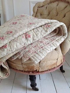 Beautiful antique French boutis quilt