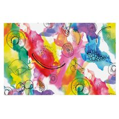 KESS InHouse Danii Pollehn 'Fruits' Rainbow Dog Place Mat, 13' x 18' -- Special dog product just for you. See it now! : Dog food container