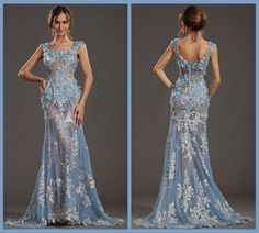 Top Quality Real Photos Square Beaded Sexy Lace See Through Prom Dresses Zuhair Murad Long Evening Gown Sweep Train With Flowers-in Prom Dresses from Apparel & Accessories on Aliexpress.com $286.58