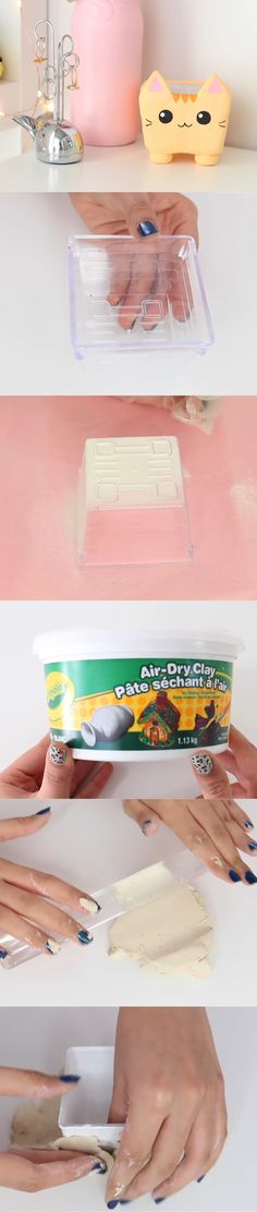 Nim C's clay cat container DIY tutorial part 1. So cute!!!!