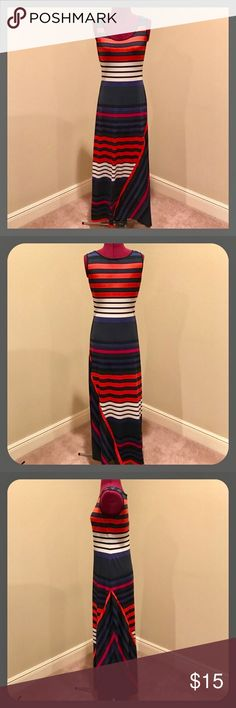 Calvin Klein Maxi Dress Striped Maxi Dress full of color. Size 4. Gently used. Calvin Klein Dresses