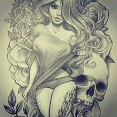 Beautiful Girl and Skull Drawing • Art and Graphics Tattoo Sketches, Tattoo Drawings, Drawing Sketches, Art Drawings, Pencil Drawings, Cool Skull Drawings, Drawing Designs, Drawing Step, Pencil Art