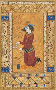 Saki, album miniature by Reza Abbasi, 1609