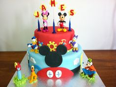 Mickey Mouse Club House Cake! See more at https://www.youtube.com/user/cakesbysharon