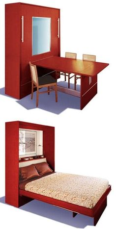 really like this Murphy Bed idea for the guest room/craft room, work desk by day, Guest bed when needed! Cama Murphy Ikea, Murphy Bed Plans, Murphy Beds, Murphy Bed Desk, Guest Bed, Guest Rooms, Space Saving Furniture, House Furniture, Tiny Spaces