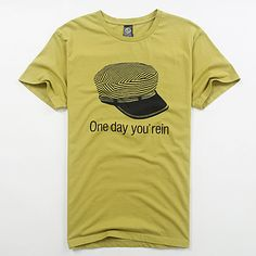 Mens 100%  Combed Cotton Crew Neck T-shirt, Print Hat.  Color : White/Black/Brown/Yellow  Size : One Size (Length) 29.14  (Bust) 41-73  (Shoulder) 17.71