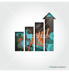 Minimal style business graph concept vector on VectorStock
