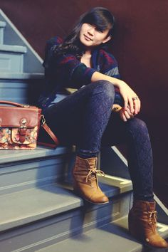 JennifHsieh #Outfit   Vintage Striped Navy Cardigan, Floral Satchel, India Boots in Tan (Blowfish Shoes), Level 99 Denim Printed Jeans